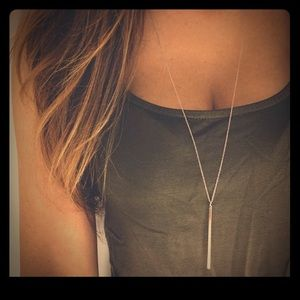 Jewelry - NEW ! Silver long chain necklace w/ bar charm